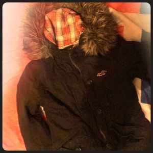 Hollister brown winter jacket size xs